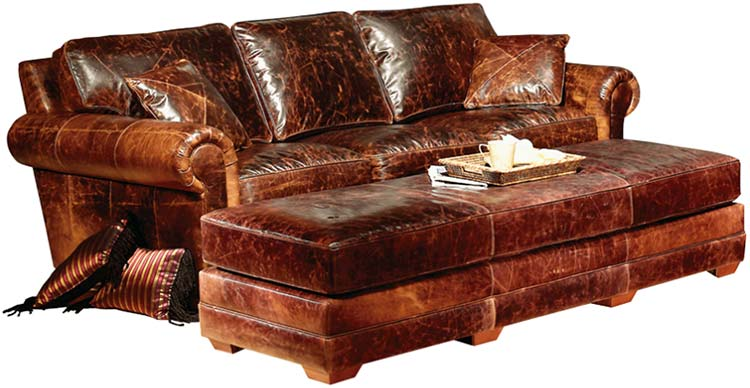 Top Grain Leather Sofa, Carolina Leather Furniture, Pineville
